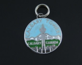 Vintage Calgary Tower Canada  Baby Blue Enamel  Sterling Silver Travelers Charm