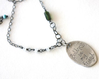 inspirational Shakespeare quote necklace . green tourmaline sterling silver necklace . talisman necklace . ready to ship