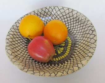 Black and Yellow Large Doily Patterned Fruit Bowl Handmade Pottery