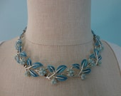 VINTAGE coro blue leaf NECKLACE and clip on earring SET