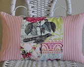 Pink Ticking and French Journal Lumbar Pillow Cover Cottage Chic Pillow Cover