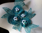 TEAL Beaded Lace Flower Applique in TEAL Organza CA 615tl