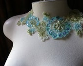 Aqua Green Beaded Lace Applique for Lyrical Dance, Ballet Costumes, Garments CA 34