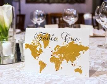 """Map of The World Tented Table Numbers - 5 x 7"""", Travel Destination Themed"""