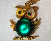 Vintage Green EYED Owl Pendant, Emerald Green Glass Breast Too, Goldtone Metal Setting on Goldtone Chain, 1970, WHOO Said What