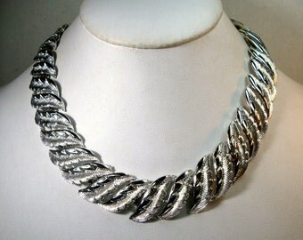 Silver Leaves Choker Necklace 1950s Adjustable Length, So SHINY, Blinding Silver Finish,