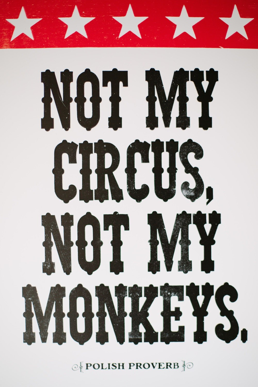 Not My Circus Not My Monkeys Letterpress Polish Proverb Print
