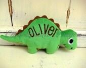 Personalized Stuffed Dinosaur Stegosaurus Soft and Plush Toy for Baby or Dog