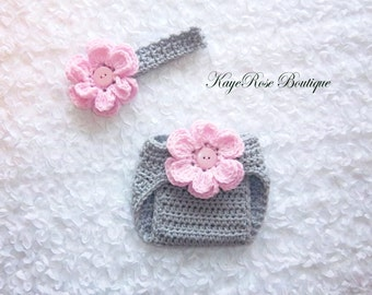 Newborn Baby Girl Crochet Flower Headband and Diaper Cover Set Pink and Gray