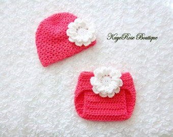 Newborn to 3 Month Old Baby Girl Crochet Flower Hat and Diaper Cover Set Coral Pink and White