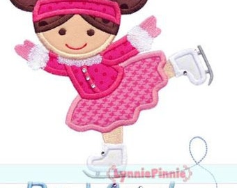 ICE SKATER GIRL  Applique 4x4 5x7 6x10 7x11 svg Machine Embroidery Design