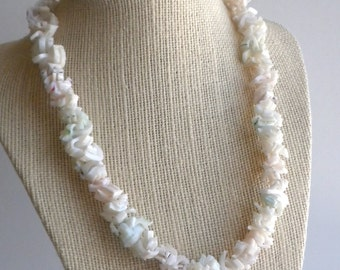 Pastel Shell Necklace - Pink, Green and White