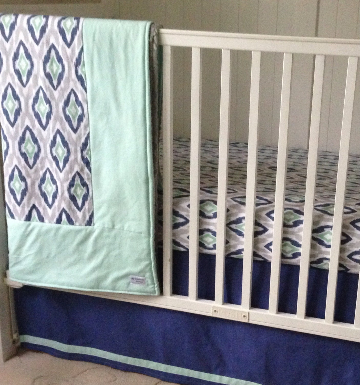SALE Designer Blue Mint Gray And White Ikat Crib Bedding Set