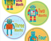 Monthly Milestone Stickers- Boys monthly bodysuit stickers- Baby month stickers- Monthly baby stickers- Baby shower gift- Robots BOY306