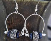 Wrapped Loop Earrings Blue Sparkle Rondelle