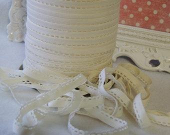 "5 Yards (3/8"" Inch Scalloped Elastic Lace) Cream White"