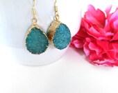 blue druzy stone earrings - druzy jewelry - gold dipped drusy stone - agate stone earrings - raw gemstone - gemstone earrings - bohemian ch