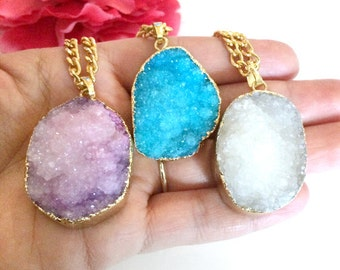 druzy agate pendant - statement necklace - druzy necklace - raw gemstone - gold dipped druzy necklace - druzy charm - bohemian chic jewelry