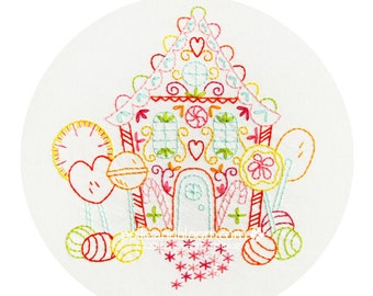Lollipop Gingerbread House - Christmas Holidays - Embroidery Pattern PDF