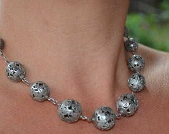 SALE 1930's Filigree Ball Cantinelle Sterling Silver Necklace