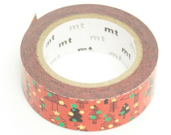 mt limited edition washi masking tape - 2014 christmas - fir christmas tree - foil stars and dots