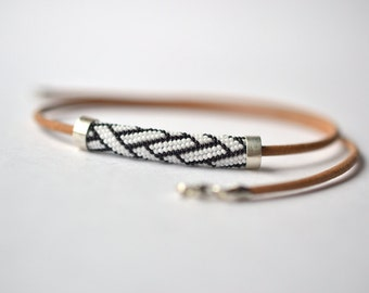 geometric choker necklace glass beads and silver