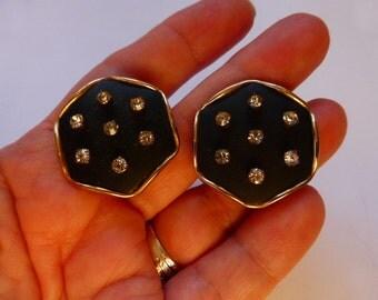 1950s Hollywood Regency Rhinestone Earrings Mid-Cent Mod clip-ons