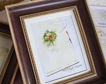 8x10  Aubergine Cream and Red Antique Style Photo Frame