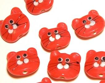 DESTASH -- Two (2) Red Lampwork Glass Cat Head Beads