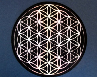 "Flower of Life Blk & Cosmic White, Altar Cloth, Crystal Grid Cloth ""Charger"""