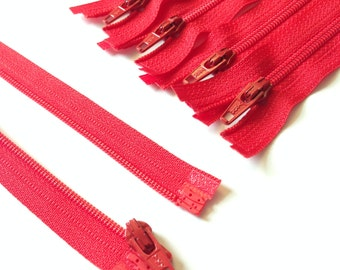 Separating Zippers- Cherry Red- 5 Pieces 3mm Nylon Coil YKK - Available in sizes 6,7, and 8 Inch