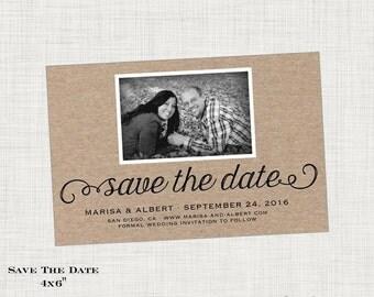 Kraft Save the Date Card or Postcard - Photo - Modern Wedding