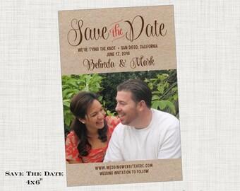 Kraft Save the Date Card or Postcard - Photo - Rustic Wedding