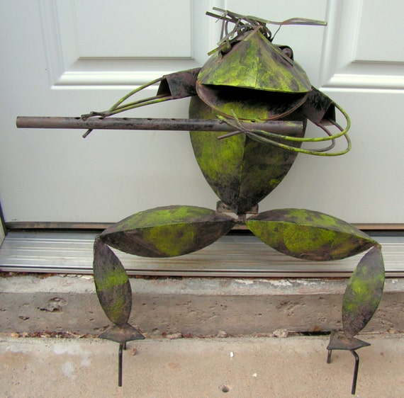Metal Frog Sculpture Playing Flute Musician Musical Instrument