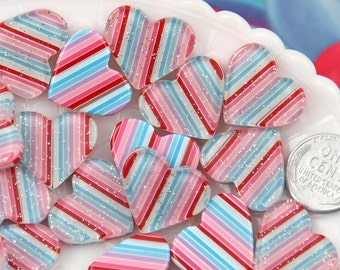 Heart Resin Cabochons - 22mm Cute Rainbow Striped Heart with Glitter Inside Resin Flatback Cabochons - 6 pc set