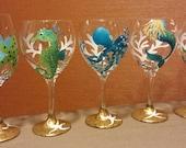 Coastal inspired, seahorse, mermaid, starfish and octopus, hand painted wine glasses