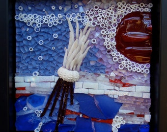 Mini Reef II  - Original MIxed Media Mosaic wall hanging