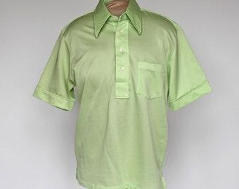 70's Button Front Shirt / Mint Green / Countess Mara / Medium