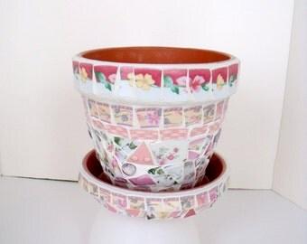 "Mosaic Pot and Matching Saucer Pinks and Peach  7"""