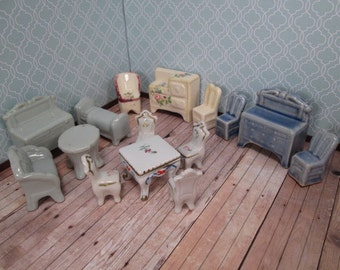 Vintage Miniature China Dollhouse Furniture - Four Sets of Miscellaneous Pieces - Instant Collection