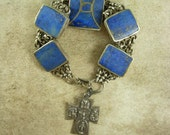 ANtique Religious scared heart bracelet Lapis inlay sterling cross Fob cross charm miraculous medal Holy dove Saint Esprit
