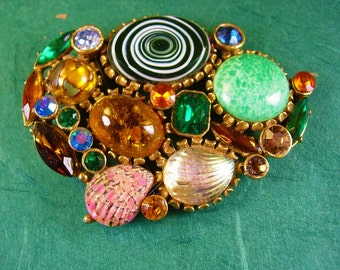 UNSIGNED Beauty HUGE cluster Brooch Vintage rhinestones statement piece