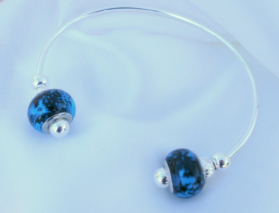 Carolina Panthers colors-Blue and Black Glass Bead Sterling Silver Bracelet Cuff, unique contemporary design