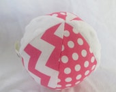 Pink Chevron Jingle Ball Baby Toy with Minky