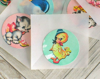 "1"" Animal Stickers, Cute Retro Animals, Vintage Animal Stickers, Envelope seals, Party Bag Seals, Daily PLanner Stickers, Scrapbook Sticker"