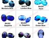 18x25 Oval Glass Jewel Faceted Diamond Cut Pointed Back Unfoiled -Blue, Purple, Sapphire, Aqua, Amethyst, Tanzanite, London, Montana -1pc