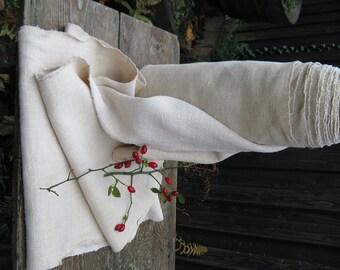 antique handloomed cushy and soft HERRINGBONE IVORY colored upholstery fabric 17.269yards