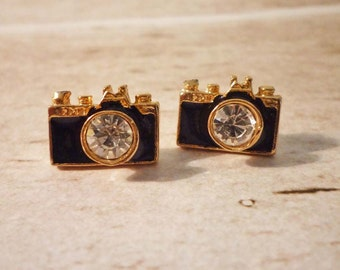 Camera Stud Earrings - Gold
