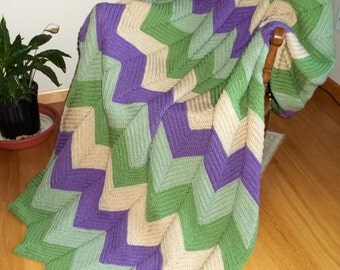 Ripple Afghan Crocheted in Green, Buff and Medium Purple, Blanket, Throw