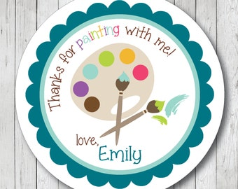 Personalized Painting Party Favor Tags, Art Party Stickers, Painting Labels, Painting Tags, Painting Stickers